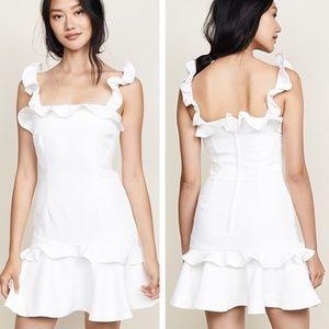 Keepsake • White Ruffle Escape Mini Dress